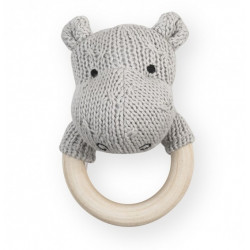 Skallra/bitring, 7cm soft knit light grey