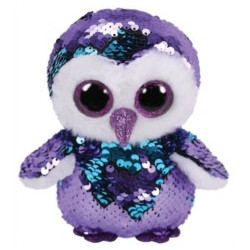 TY Flippables MOONLIGHT-purple sequin owl