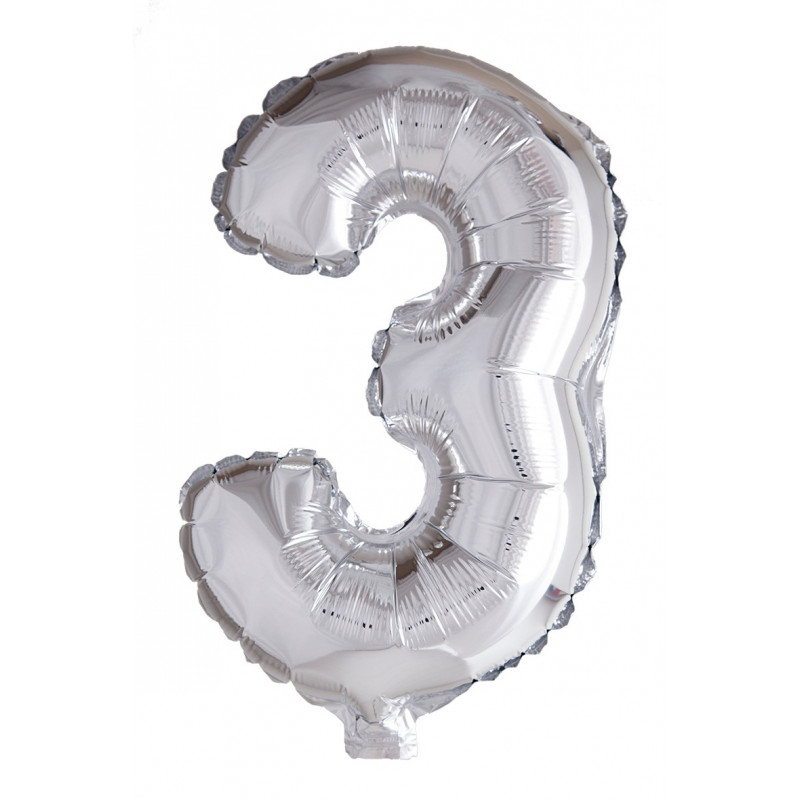 Foil Balloon Number 3 Silver 102cm