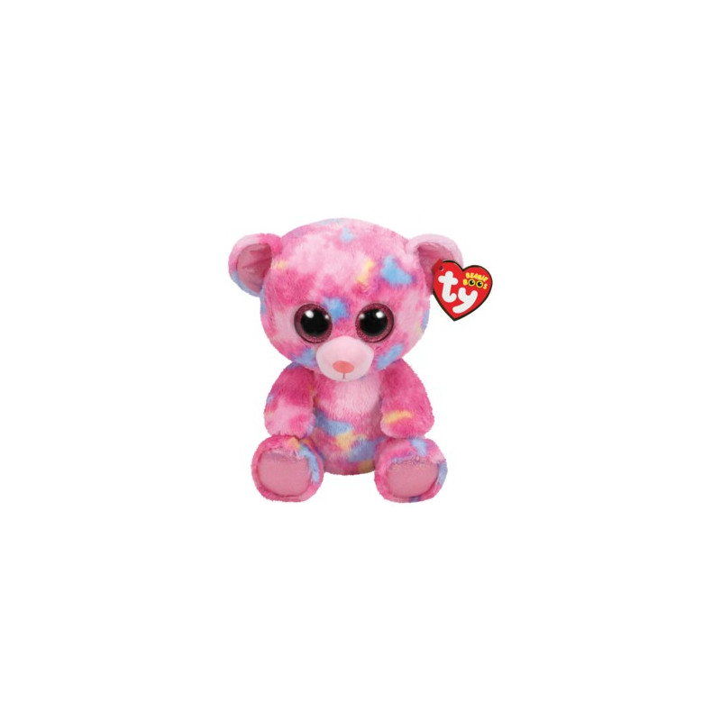 TY Beanie Boos FRANKY - pink multicolored bear medium