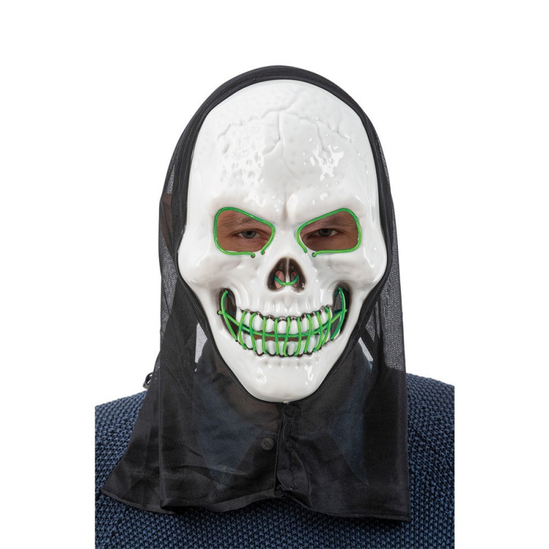 LED MASK SCULL W.HOOD GREEN