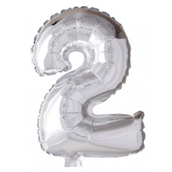 Foile Balloon Number 2 Silver 41cm