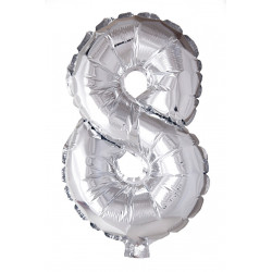 Foil Balloon Number 8 Silver 41cm