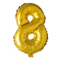 Foil Balloon Number 8 Gold 41cm