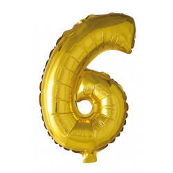 Foil Balloon Number 6 Gold 41cm