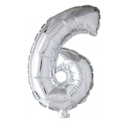 Foile Balloon Number 6 Silver 41cm
