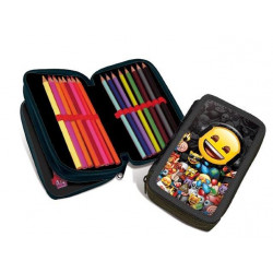 EMOJI, pencil case, filled - double decker