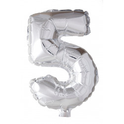 Foil Balloon Number 5 Silver 102cm
